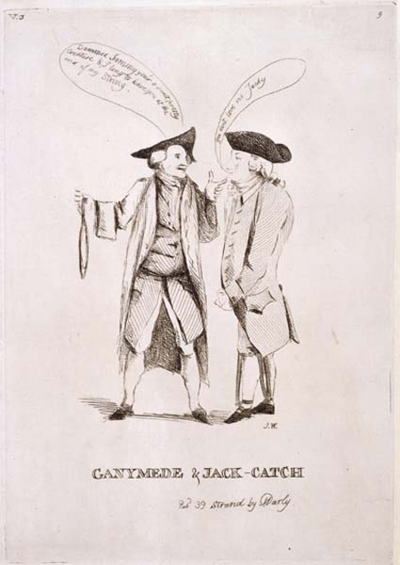 This print was published by the caricaturists Matthew and his wife Mary Darly. The Darlys opened their print shop at 39 The Strand in 1766. They also encouraged amateur artists to produce 'carrick' (caricature) in the form of drawings and etchings. This one is initialled 'J.W.' in the bottom right hand corner.