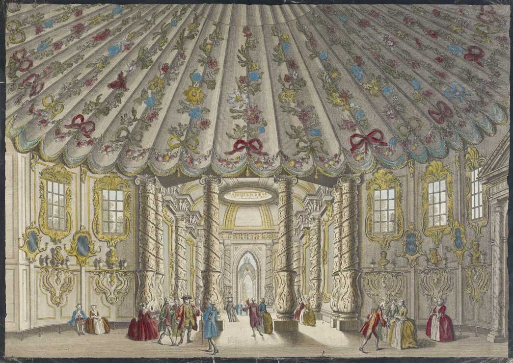 Coloured image of the interior of the Music Room at the Vauxhall Gardens in the mid 18th century.