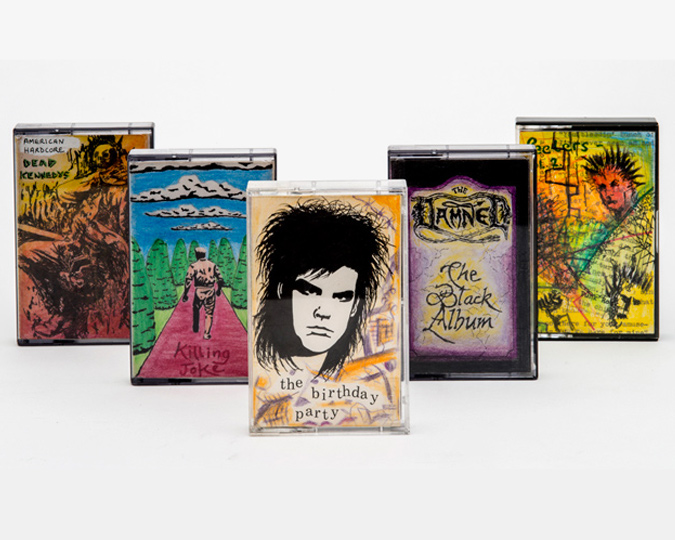 Tapes decorated by hand with images of Punk bands.