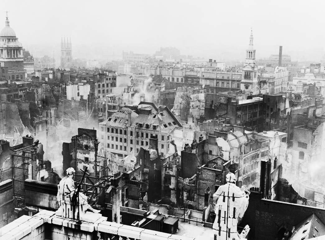 Bomb damage seen from St. Paul's cathedral towards Paternoster Row. In the aftermath of the Blitz on London, St Paul's stood almost solitary amongst the surrounding devastation.