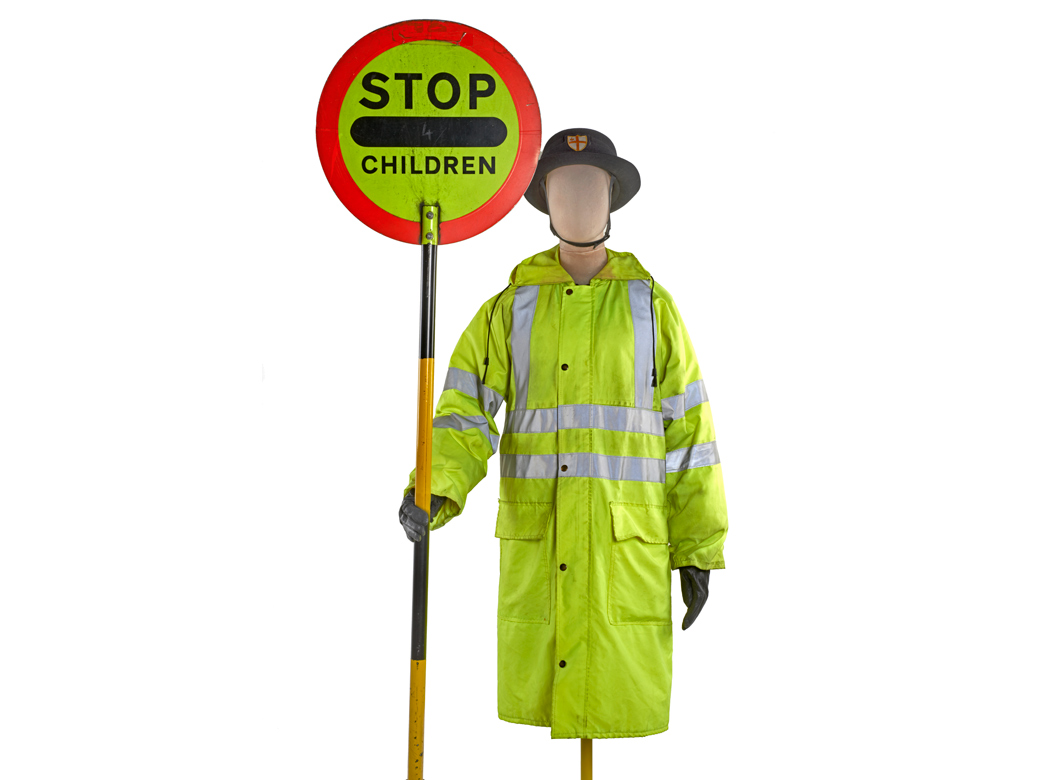 This uniform was worn by Shelia Gallagher MBE, the last 'lollipop lady' in the City of London.