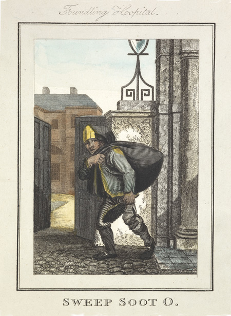 Image of a chimney sweep with bag of soot and brush, passing the gates of the Foundling Hospital. Chimney sweeps started work at dawn. Two or three boys accompanied the master sweep; the older one carried the bag of soot while a small boy would sweep the chimney, naked. Boys from workhouses were apprenticed to chimneysweepers.