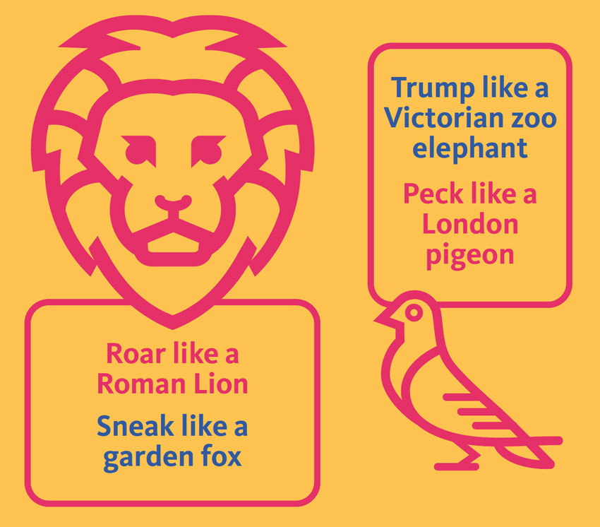 An illustration of a lion head and a pigeon sit with the words, 'Roar like a lion', 'Sneak like a garden fox', 'Trump like a Victorian zoo elephant' and 'Peck like a London pigeon'.