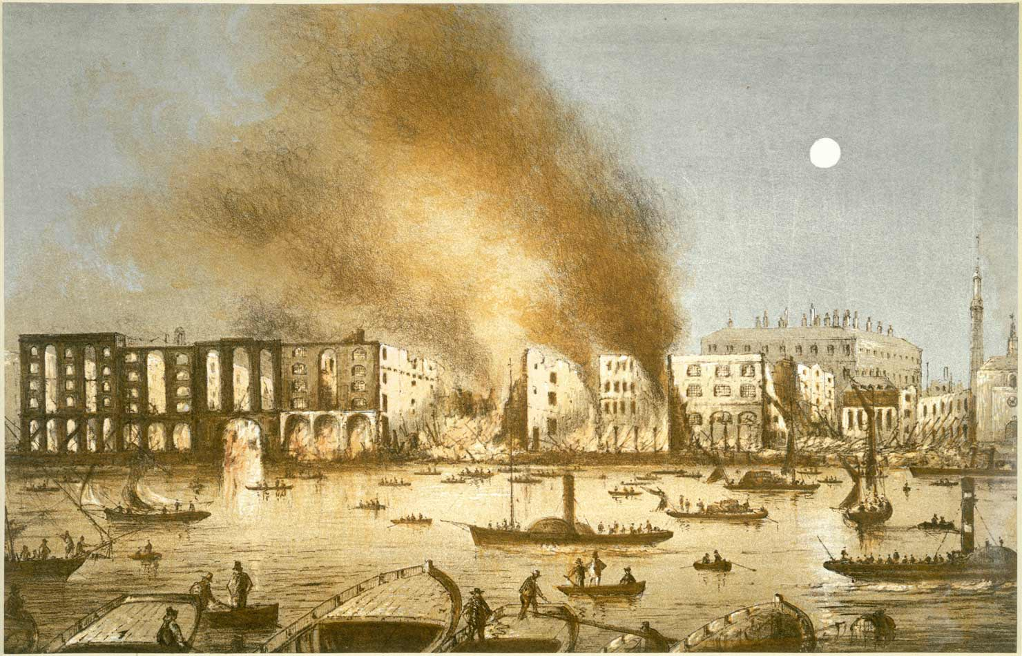 Painting of the Tooley Street Fire.