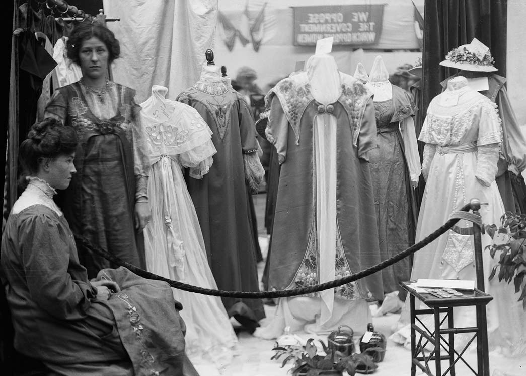 Dresses on show as part of a suffragette exhibition.