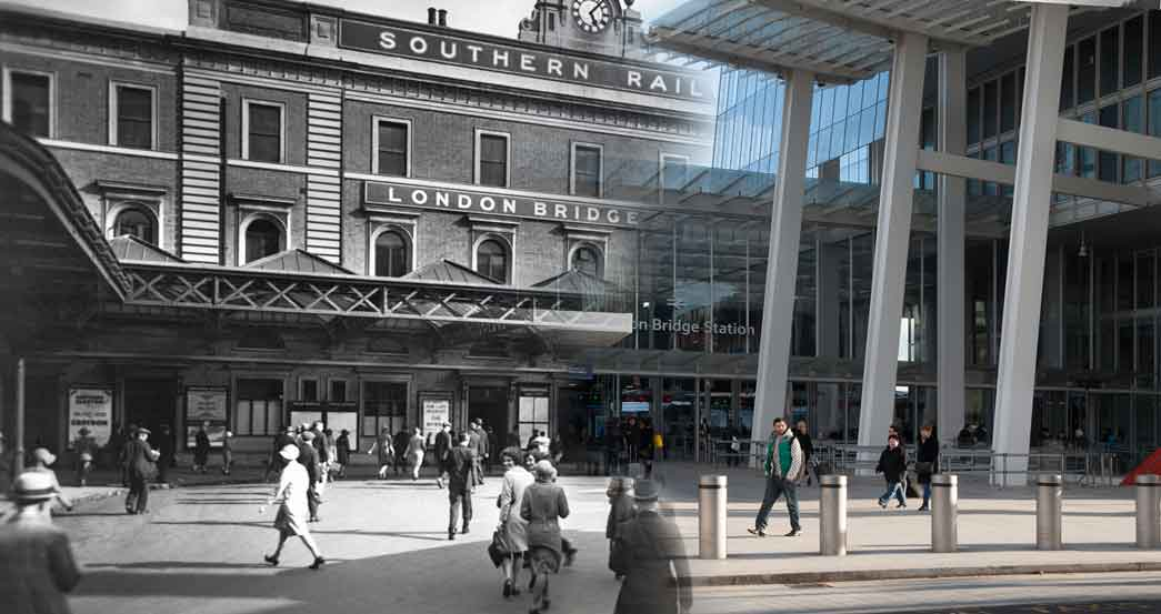 Composite photograph showing a contempory and historical view of the forecourt of the Southern Railway's terminus at London Bridge. This was the oldest railway terminus in London, having been built for the line linking London and Greenwich in 1836.