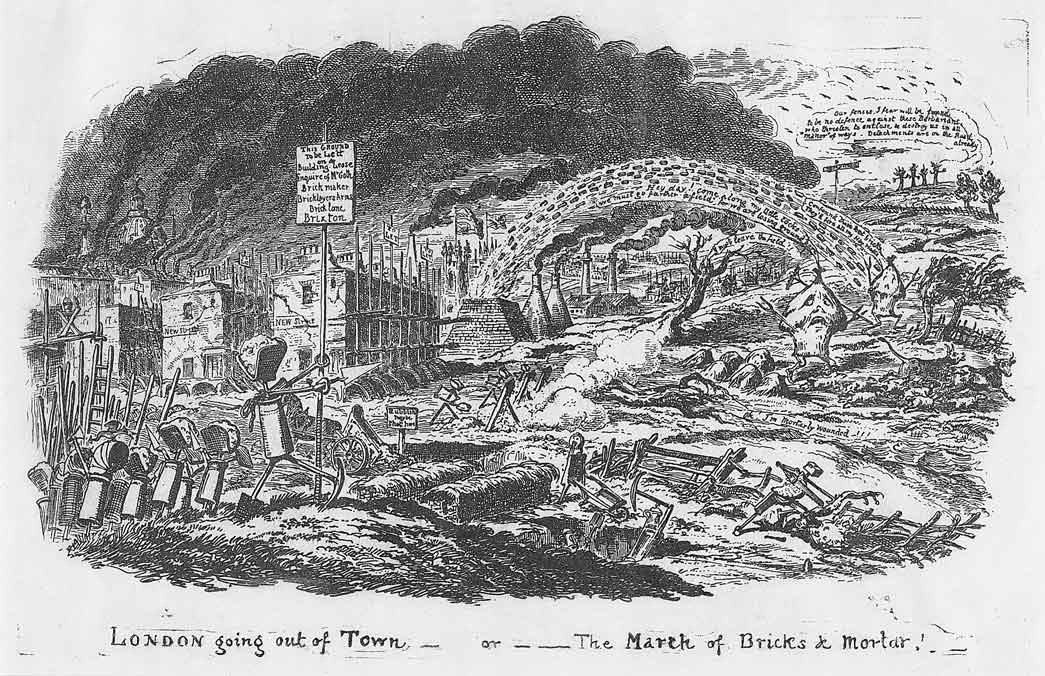 Reproduction of etching, 'London Going Out of Town or the March of Bricks and Mortar'. Regiments of new streets march ruthlessly out of London into the surrounding country under the leadership of 'Mr. Goth'. This satirical image comments on the frenzy in the construction that was taking place in London around the 1820s. The image gives a detailed picture of the brickmaking and house-building processes. The pits formed by brick digging were filled with domestic rubbish where rows of houses were built.