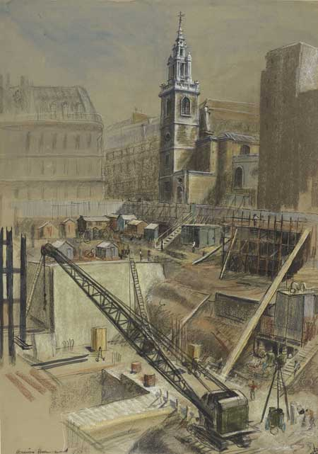 Laying the foundations for Bucklersbury House on the site of the Temple of Mithras. The building site is enclosed all around with a fence. It has been taken from the South East and shows in the background the church of St. Stephen's, Walbrook.