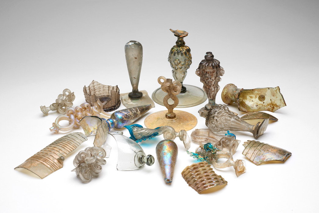 Selection of glass recovered from Gracechurch Street on a house burned during the Great Fire.