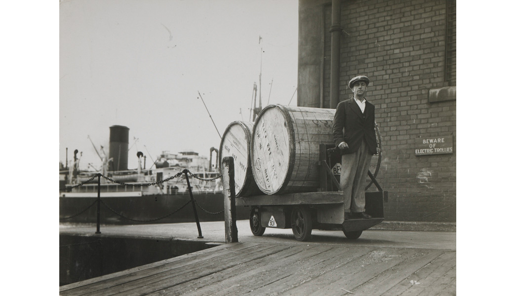 Tobacco being loaded on an electric trolley at London's Docklands.