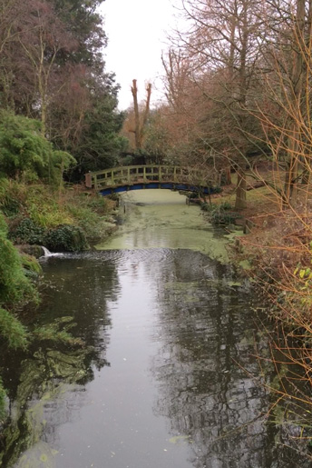 View of a bridge over the boating pond in Regent's Park