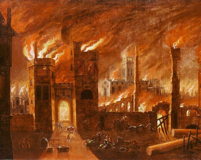 Great Fire of London painting.