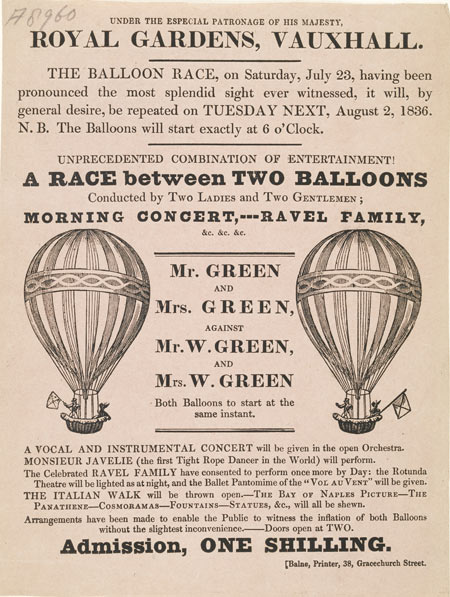 The race was to take place between two balloons, one containing Mr & Mrs Green, the other containing Mr W. & Mrs W Green. Also taking place on this day would be other amusements or entertainments including a vocal & instrumental concert, a performance by the Ravel family and a performance by Monsieur Javelie the tight rope dancer.