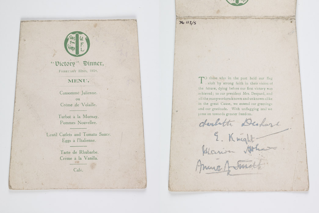 Printed menu for a meal organised by the Women's Freedom League on 3 January 1919 to commemorate the women candidates who stood for parliament during the General Election of 1918.