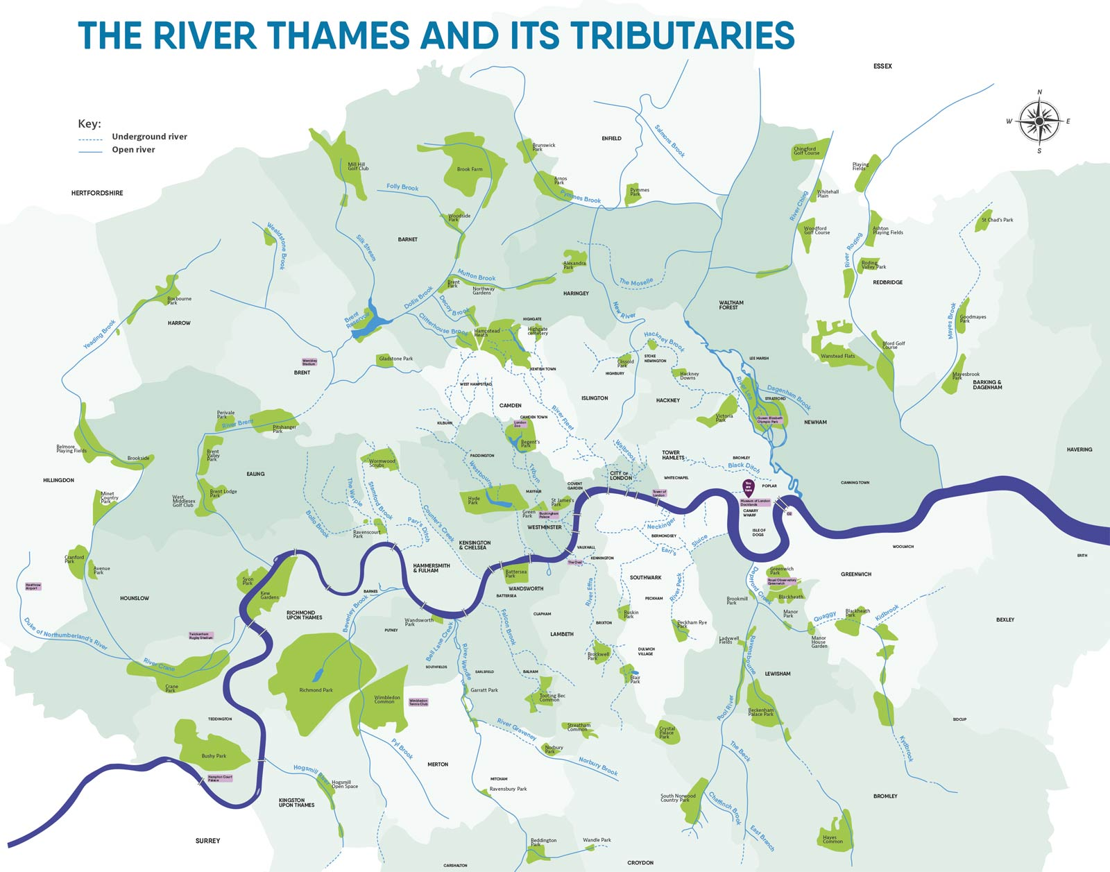 Map of the River Thames and its tributaries