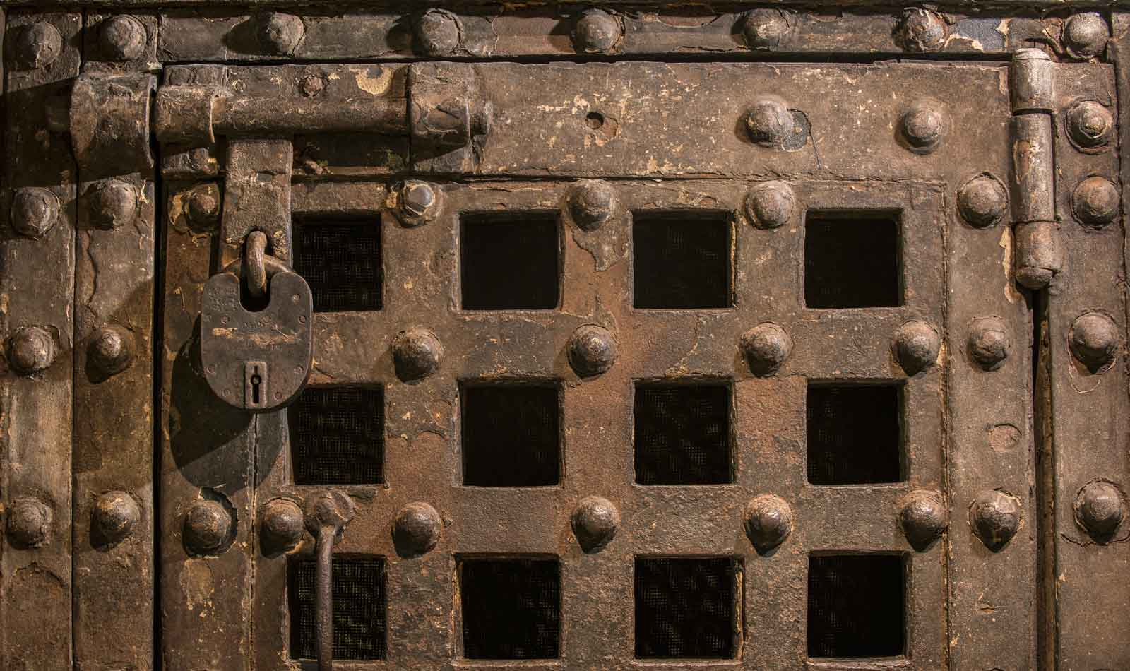This heavy iron clad oak door comes from the inner courtyard where the prisoners exercised.