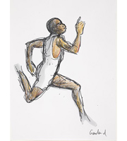 Study of male Olympic sprinter Copyright Nicholas Garland