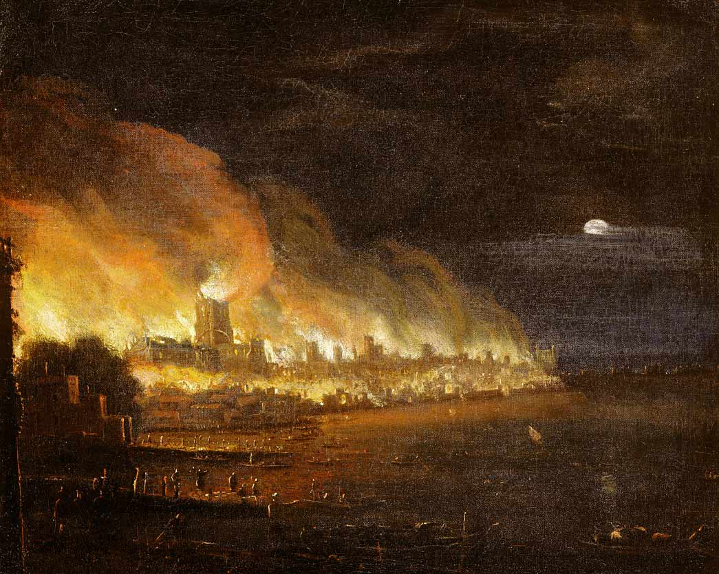 The Great Fire of London - Taken from the West just beyond Essex Stairs. Oil on canvas - not dated or signed. Moonlit scene framed on the left by Essex and Temple Stairs and on the right by the London Bridge.