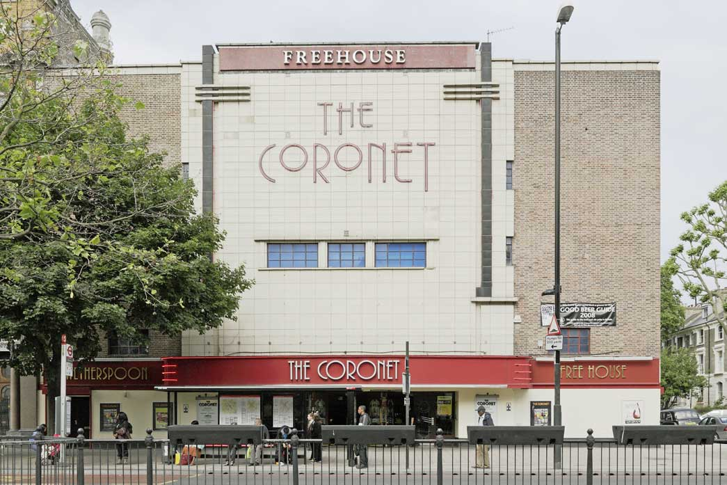 The Coronet in Holloway is a conversion of an old cinema into a pub. The front of the venue remains much as it would have done when functioning as a cinema.