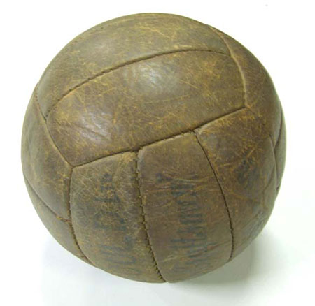 Leather football c. 1950 with hand stitching, printed with trade name 'The Craftsman'
