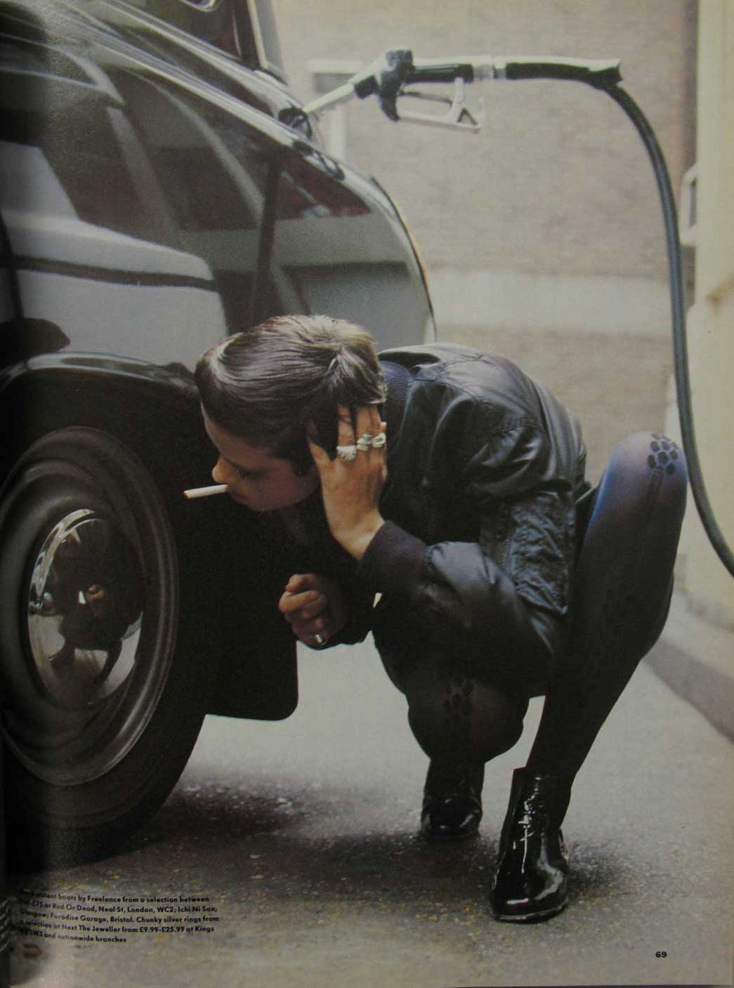 Image from 1988 edition of Vogue magazine showing a model in a bomber jacket.