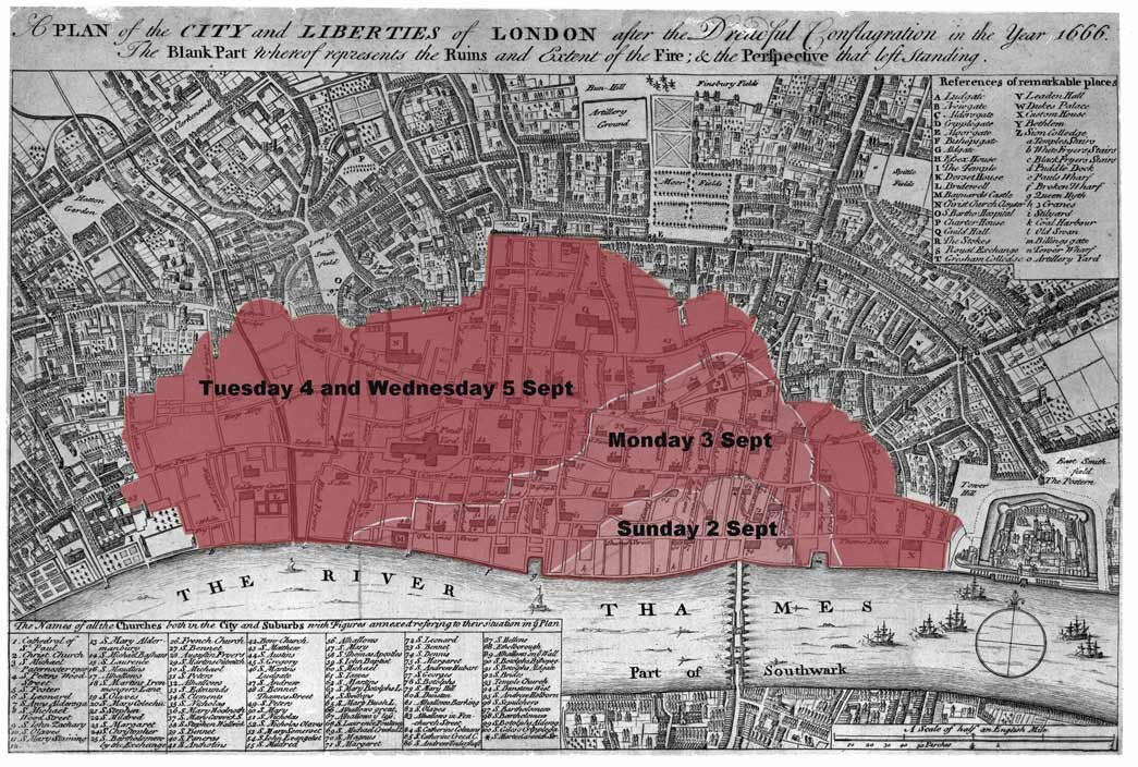 Map showing the spread of the Great Fire across London in September 1666.