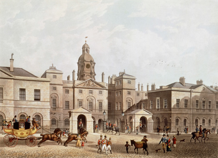 A View of the Horse Guards from Whitehall. Coloured aquatint. Street scene with horse chart and groups of people in the foregorund and Horse Guard Building in the background.