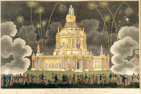 Coloured aquatint and etching. The temple of concord was erected in Celebration of the Glorious Peace of 1814. This view shows the Temple of Concord as erected in Green Park and is not shown realistically. The night scene shows a crowd on the foreground looking at the fireworks.