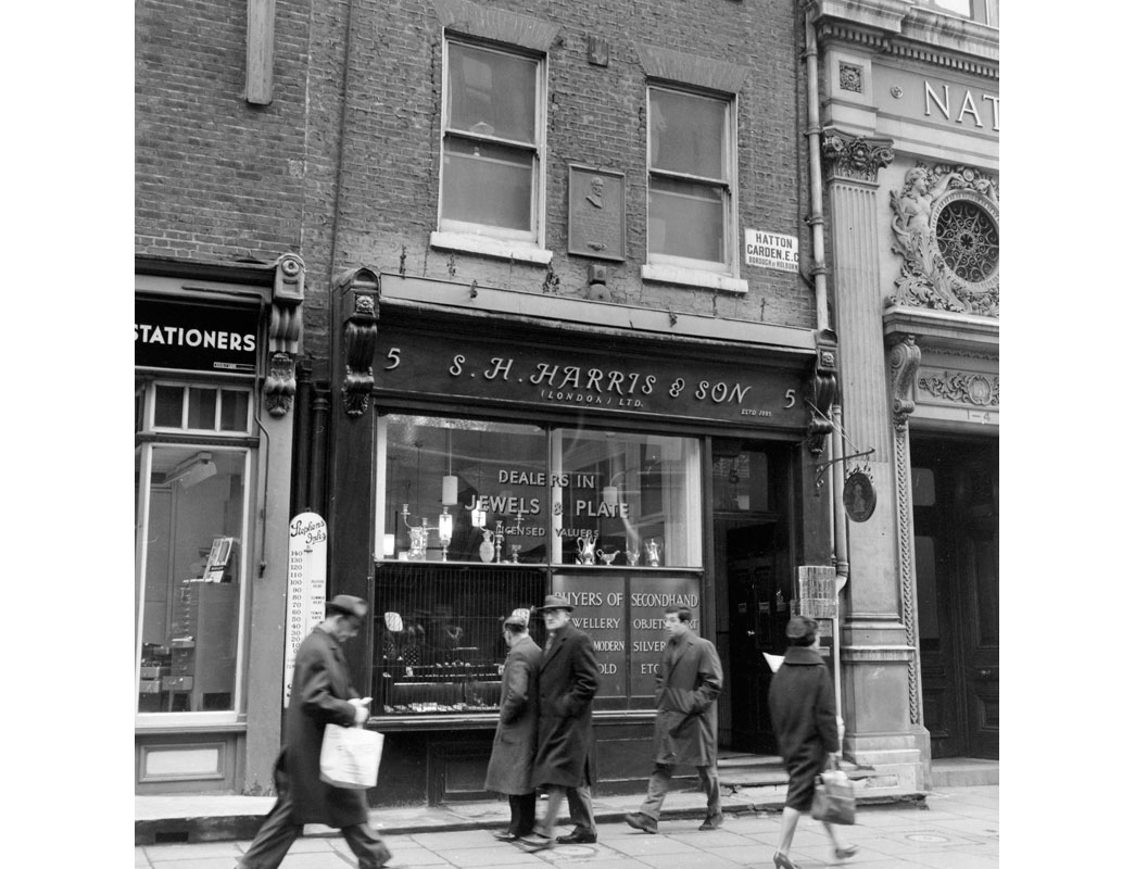 S. H. Harris & Son Jewelry shop at No 5 Hatton Garden. The building is still a jewellery shop however it is now owned by another company. Hatton Garden is an area of London between Leather Lane, Saffron Hill and Hatton Wall. Up until the 19th century houses were privately owned and no shops were permitted but by the 1860s there were some jewelers working in gold and silver. Since this time Hatton Garden has become the centre of the Diamond Trade in London.