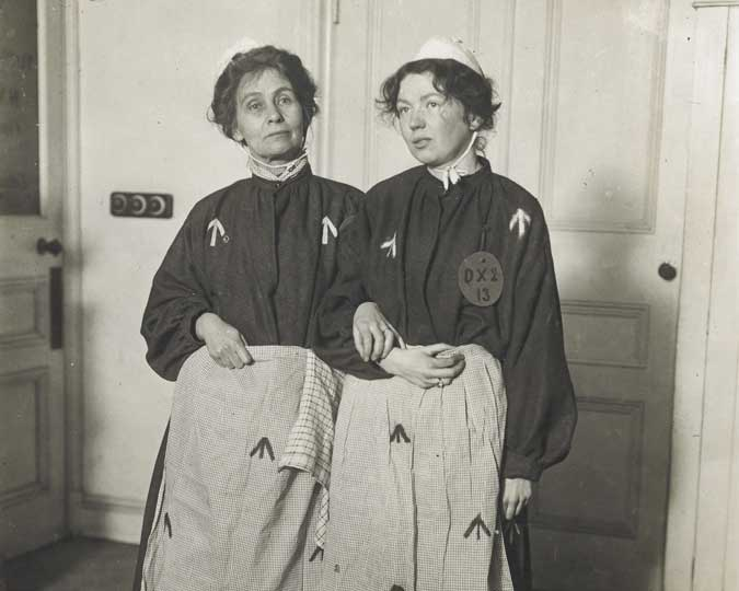 Emmeline and Christabel at the Women's Exhibition, 1909.