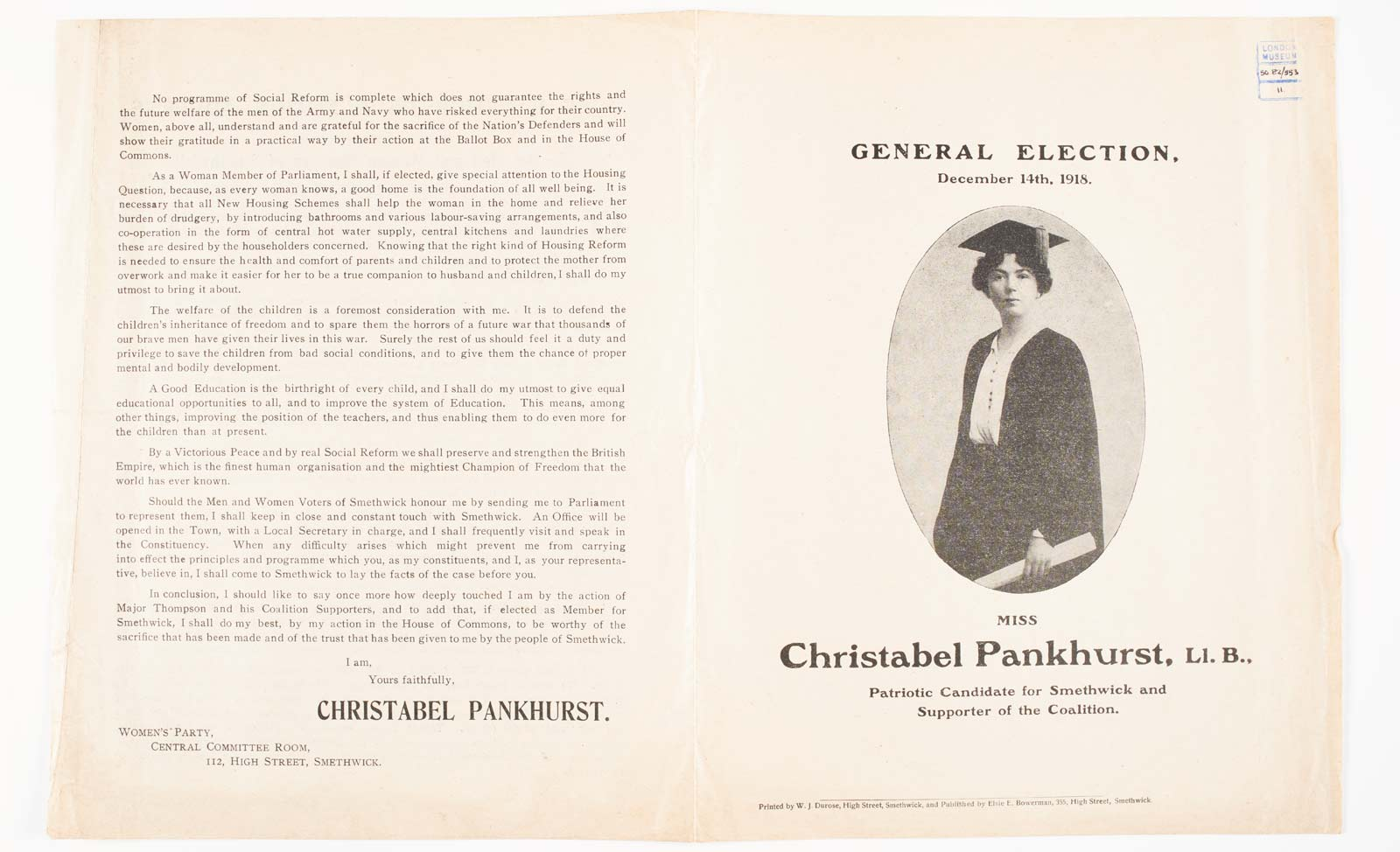 Campaign leaflet issued by The Women's Party and Christabel Pankhurst for the General Election. December 14th, 1918. The leaflet is printed with Christabel Pankhurst's Election Address to the Men and Women Electors of Smethwick.