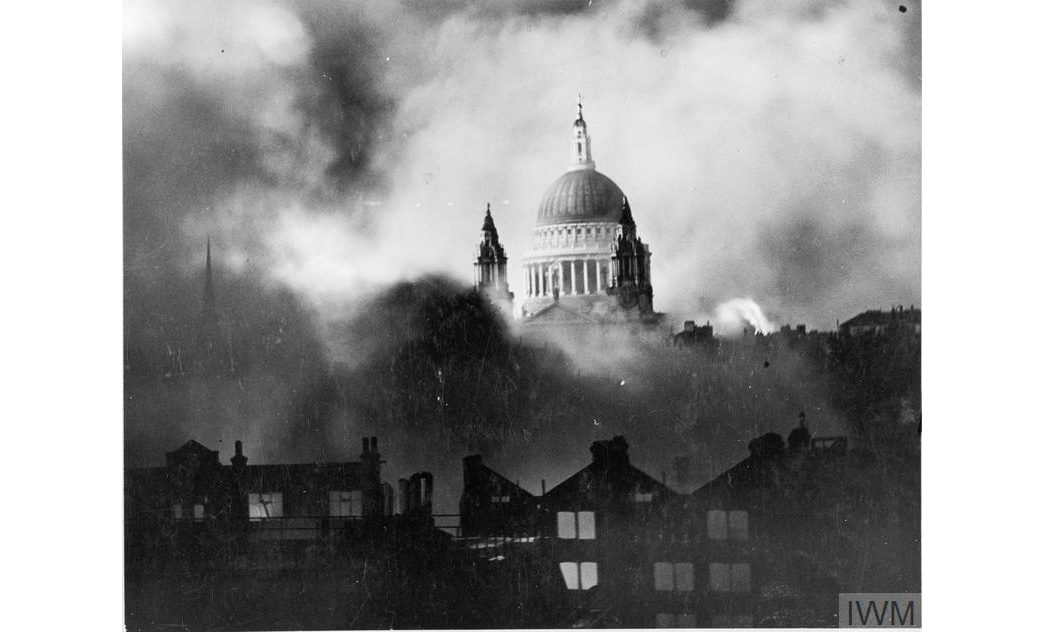 St. Pauls cathedral on the night of 29/30 December 1940. Copyright Imperial War Museum.