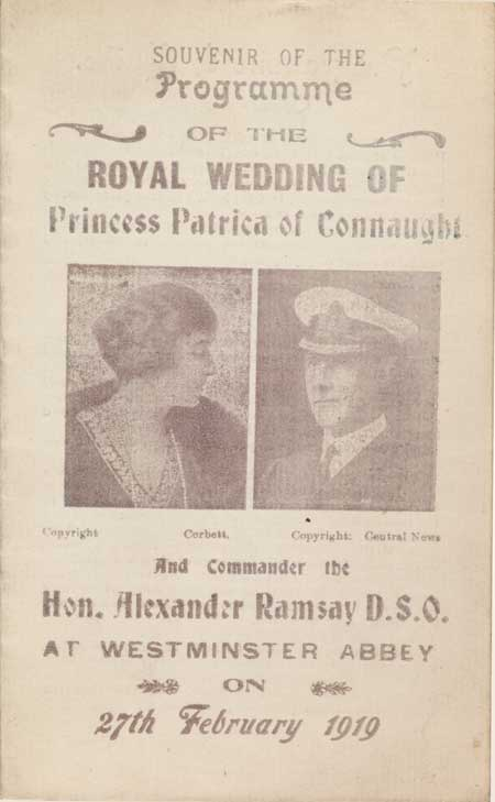 Souvenir programme published to commemorate the wedding of Princess Patricia of Connaught