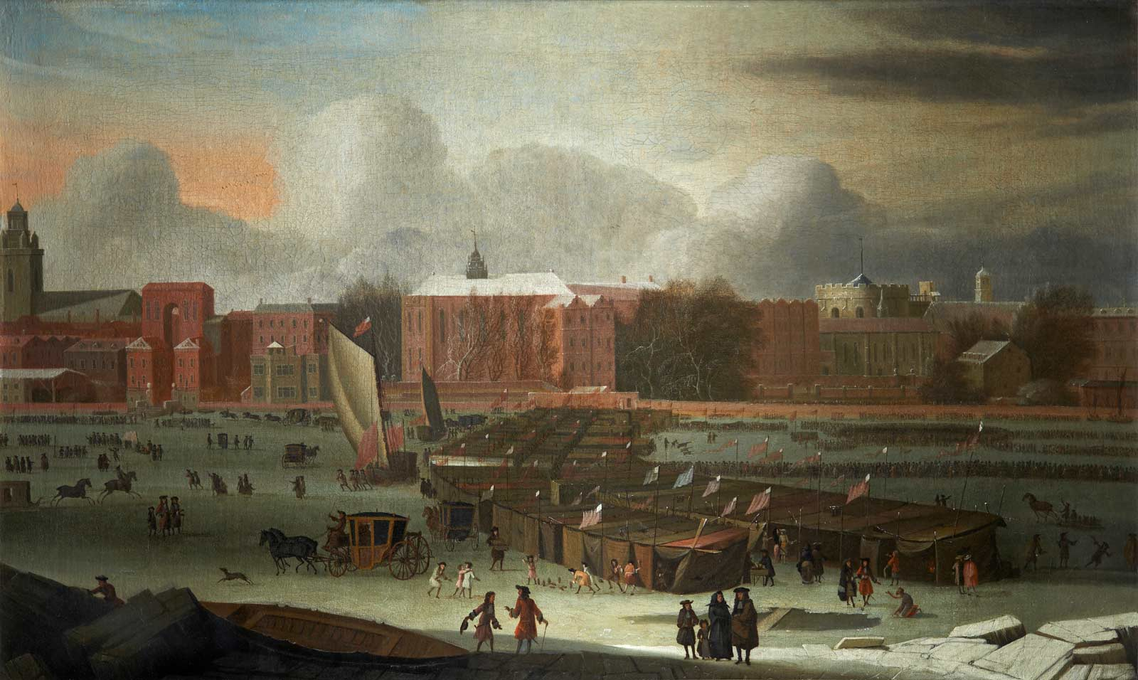 A Frost Fair on the Thames at Temple Stairs. January 1684. The frost fair scene shows a line of booths on frozen Thames in centre, coaches, sledges, sedan-chairs & citizens are shown on ice. Also a game of ninepins in progress.In the foreground centre and nearby is gaping hole in ice. You can see in the painting from left to right; St. Clement Danes, Arundel St., Essex Bldgs., Essex Stairs, Middle Temple Hall, Temple Stairs, Crown Office Row, Temple church, Serjeant's Inn Hall, precursor of Paper Buildings and on the extreme right King's Bench Walk.