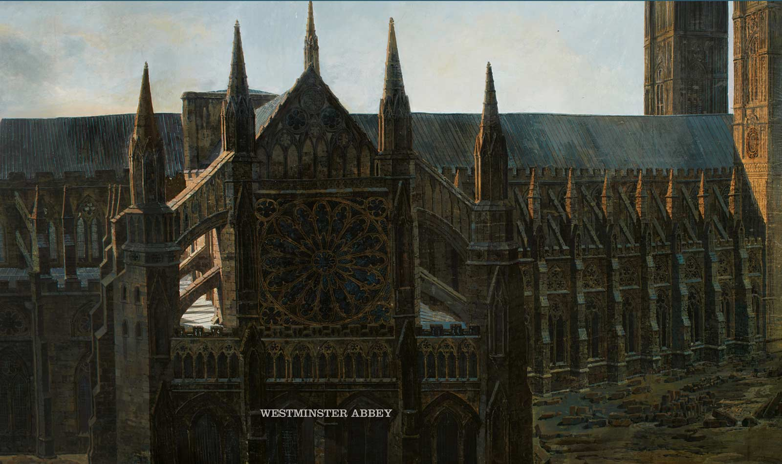 Section of the Prevost Panorama showing Westminster Abbey.