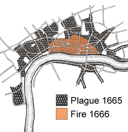 A map showing the areas affected by the great plague of 1665 and by the Great Fire of 1666.