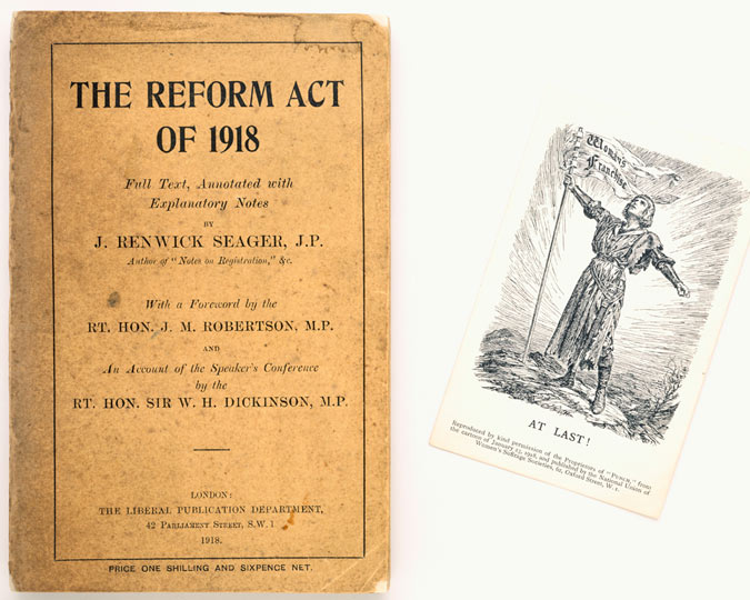 Book titled the Reform Act of 1918 and postcard At Last