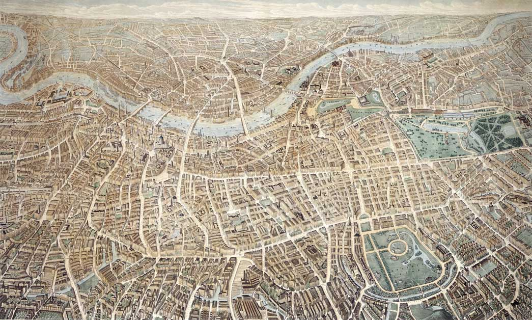 A balloon view of London as seen from Hampstead, May 1851. Coloured etching and aquatint. All major streets and buildings are labelled, including Crystal Palace in Hyde Park.