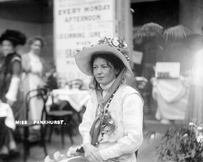 Christabel Pankhurst at the women's exhibition, 1909