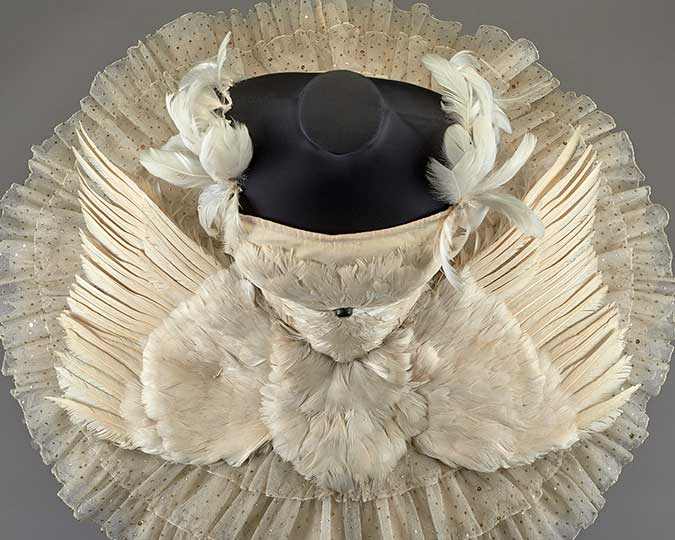Anna Pavlova's Dying Swan costume from above, after conservation