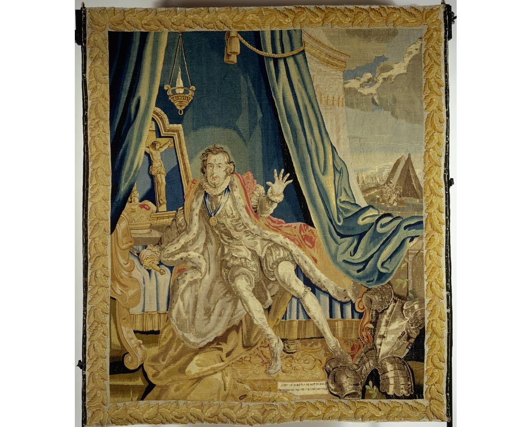 Tapestry depicting the actor David Garrick as Richard II, in costume. Made of wool and silk.