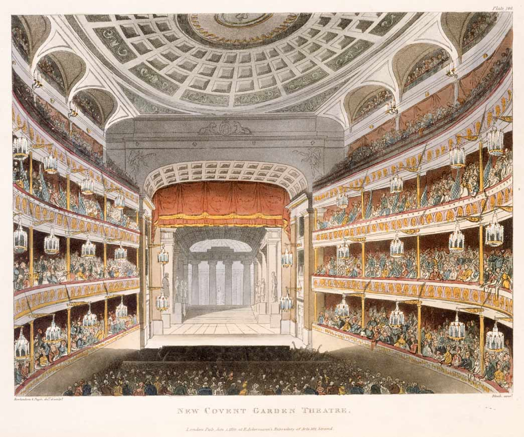 New Covent Garden Theatre. A coloured aquatint showing the stage and the interior of the New Covent Garden Theatre, as rebuilt after the fire of 1808. This print was published in volume III of Ackermann's 'Microcosm of London.'