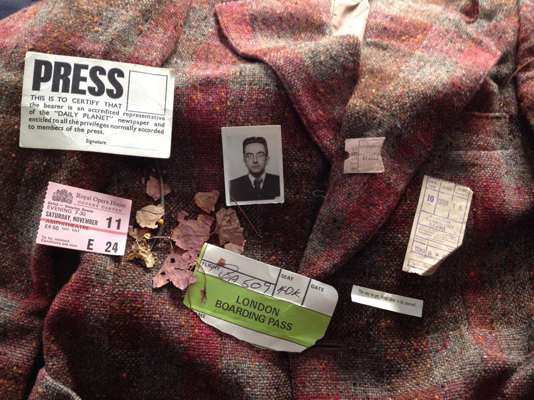 Objects from the pockets of Francis Golding's clothes, recently acquired by the Museum of London, including coins, railway tickets and old leaflets.