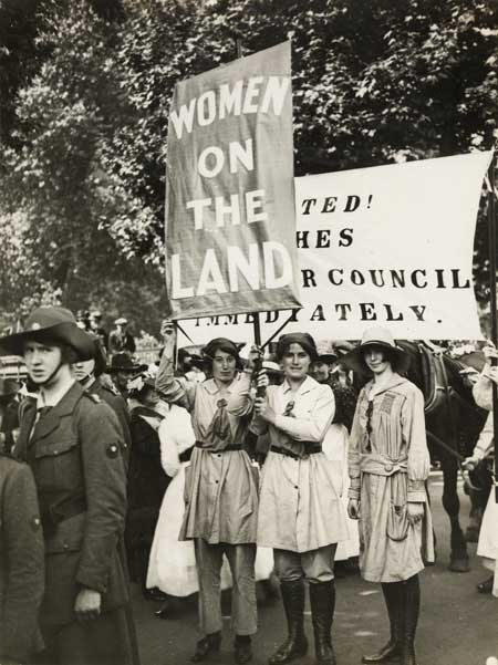 Land-girls at the Women's Right to Serve March.
