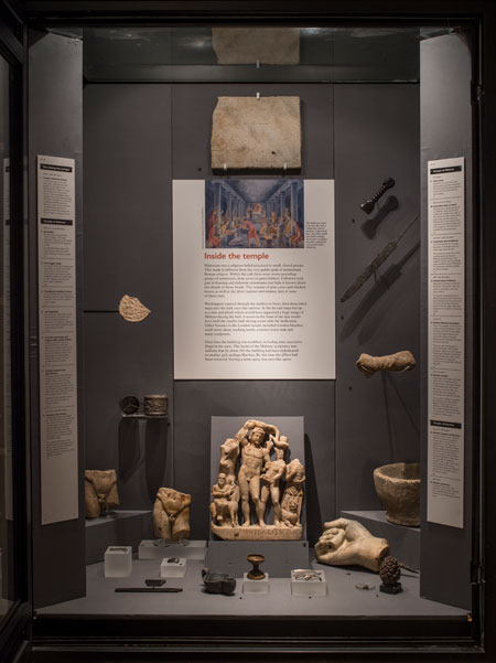 The display of the Temple of Mithras at the Museum of London.