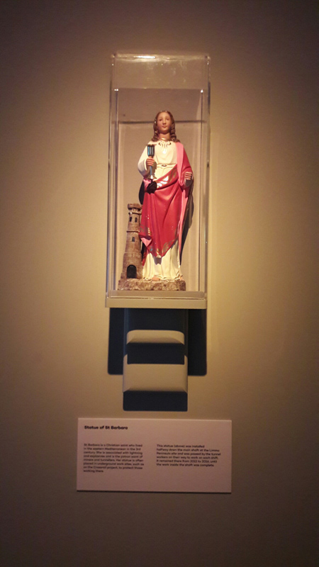 Statue of Saint Barbara, on display in the Tunnel: The Archaeology of Crossrail exhibition at the Museum of London Docklands.