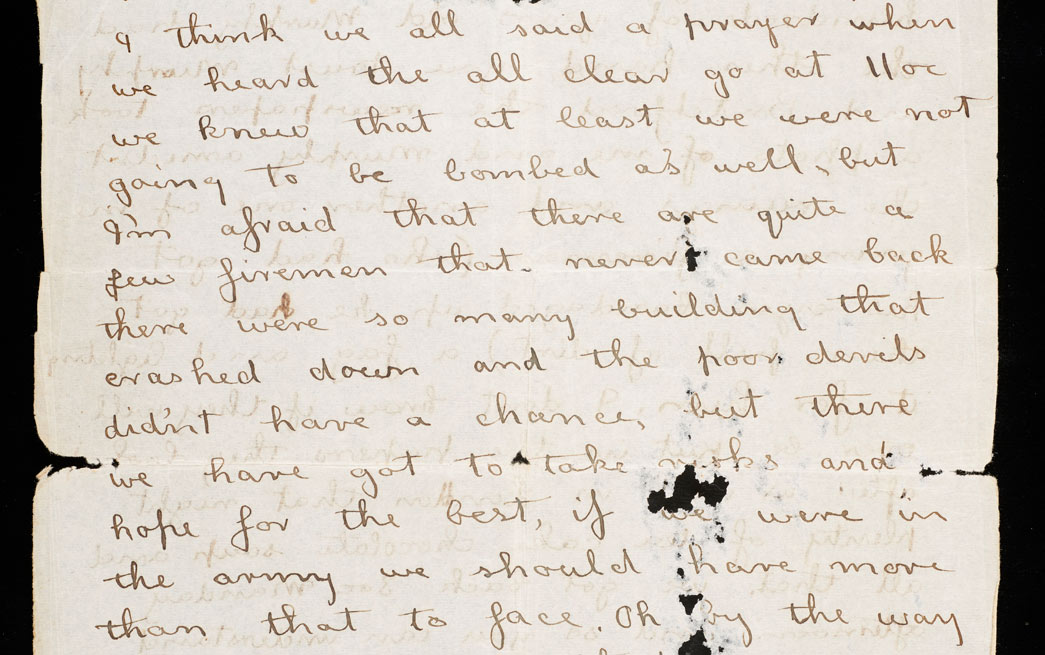 Letter from George Britchford describing the night of the 29/30 December 1940, during the Blitz.