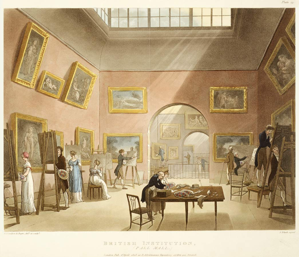 British Institution, Pall Mall. Interior view of the insitution showing male and female artists painting by copying works hanging on the walls.