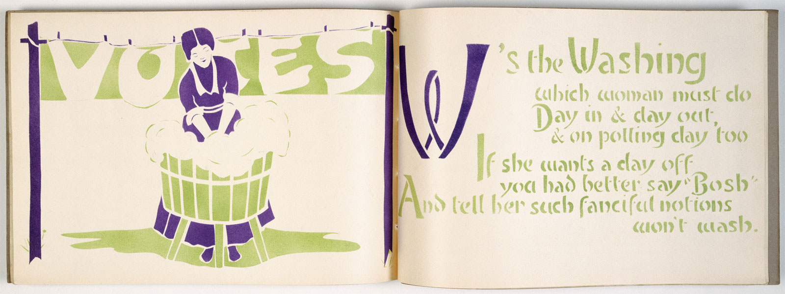'An Anti-Suffrage Alphabet' was designed by Laurence Housman and edited by Leonora Tyson, the organiser of the Lambeth/Southwark Women's Social and Political Union. The verses, documenting disenfranchised women's unfair subordination, lampooned opponents of women's suffrage. The book includes stencilled illustrations in the suffragette colours of purple and green by a number of female artists including Alice B. Woodward, Pamela C. Smith and Ada P. Ridley. The book was produced to raise funds for the suffragette campaign. Advertised in 'Votes for Women' on 15 December 1911, it was marketed as a suitable gift for suffragette supporters. Leonora received book orders at her home address in Streatham, where she printed each edition by hand.