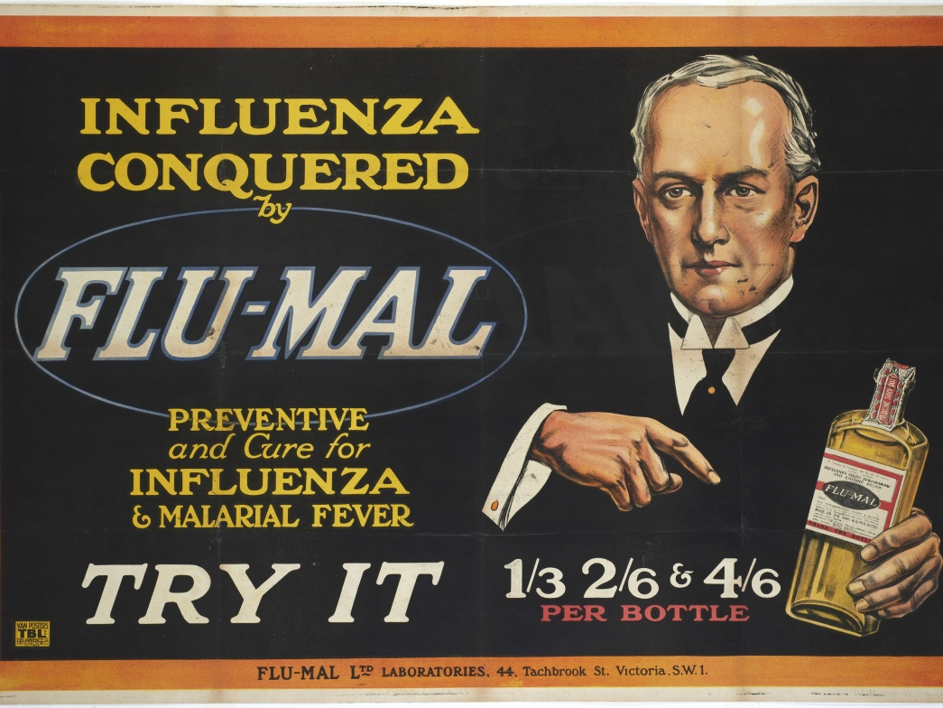Influenza conquered by Flu-Mal. Advertising Poster © Museum of London Cropped.jpg
